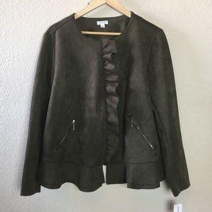 Dress Barn Olive Green Faux Suede Moto Jacket